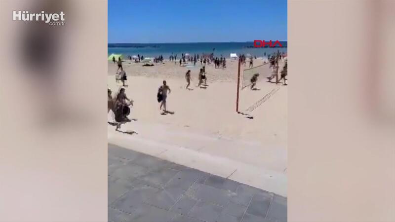İsrail'de plajdaki halk sığınaklara koştu