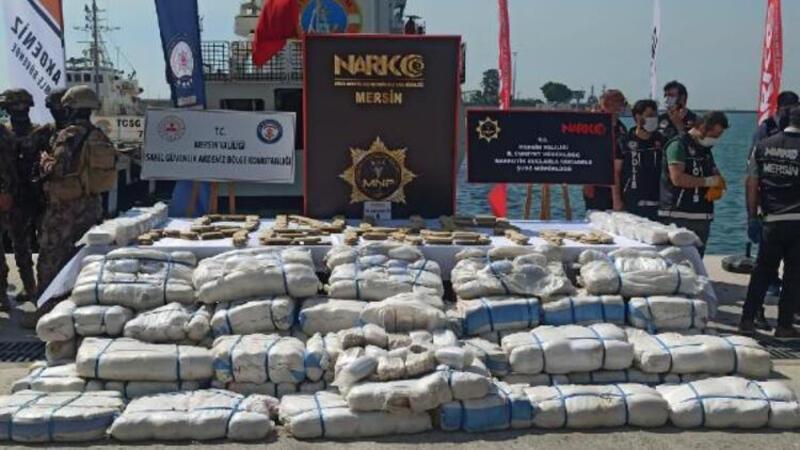 Suriye açıklarında ele geçirilen 1,5 ton uyuşturucu Mersin Limanı'nda