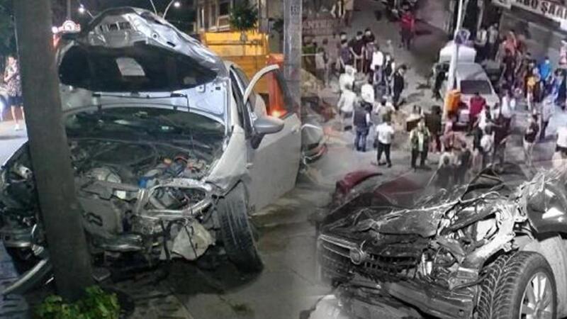 Sultangazi'de feci kaza! Otomobile, motosiklete, ağaca çarptı