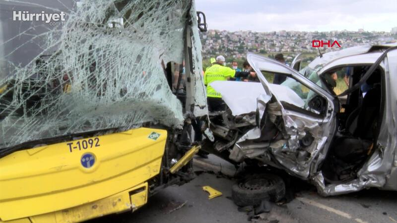 Başakşehir'de İETT otobüsüyle çarpışan hafif ticari aracın sürücüsü öldü
