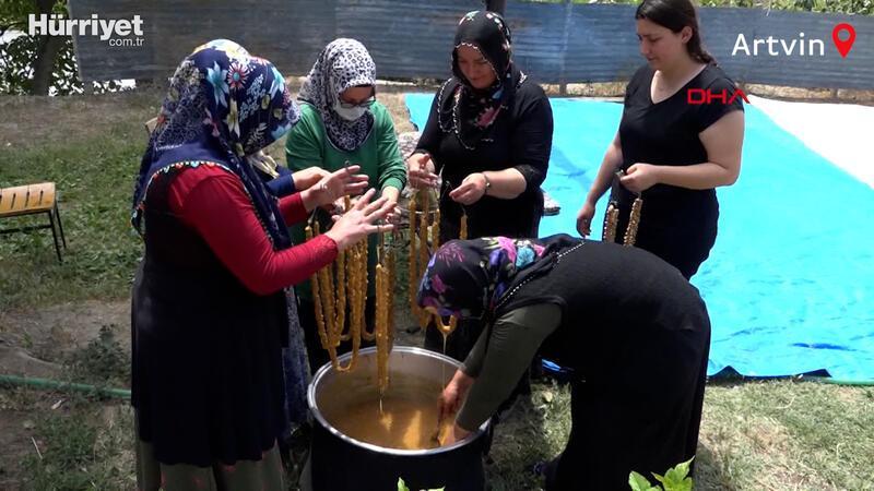 Artvinli kadınların pestil ve köme mesaisi