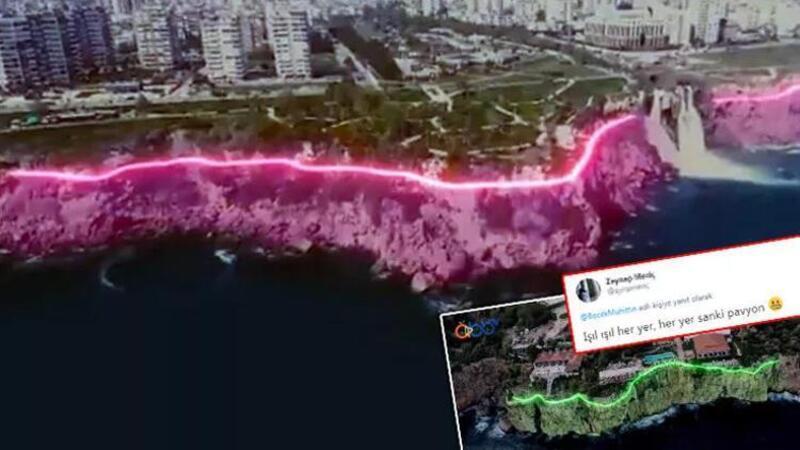 Antalya'da tartışmalara neden olan Falez Işıklandırma Projesi iptal edildi