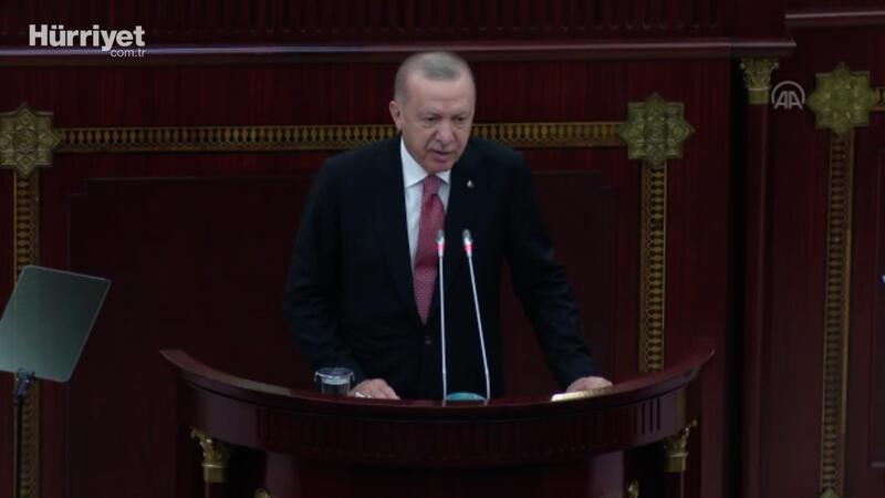 Cumhurbaşkanı Erdoğan, Azerbaycan Milli Meclisine hitap etti