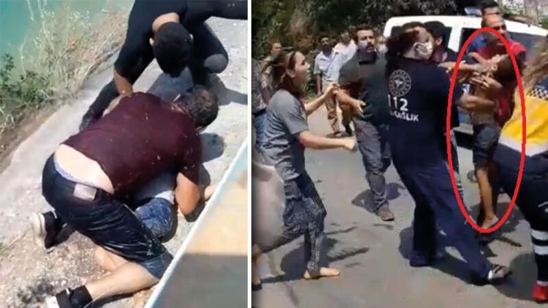 Servis şoförü, sulama kanalında sürüklenen çocuğun hayatını kurtardı