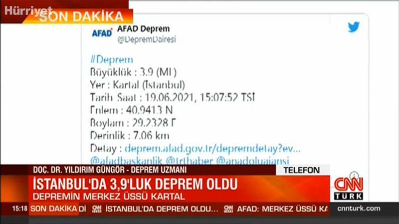 İstanbul'un Kartal ilçesinde büyüklüğü 3,9 olan deprem meydana geldi