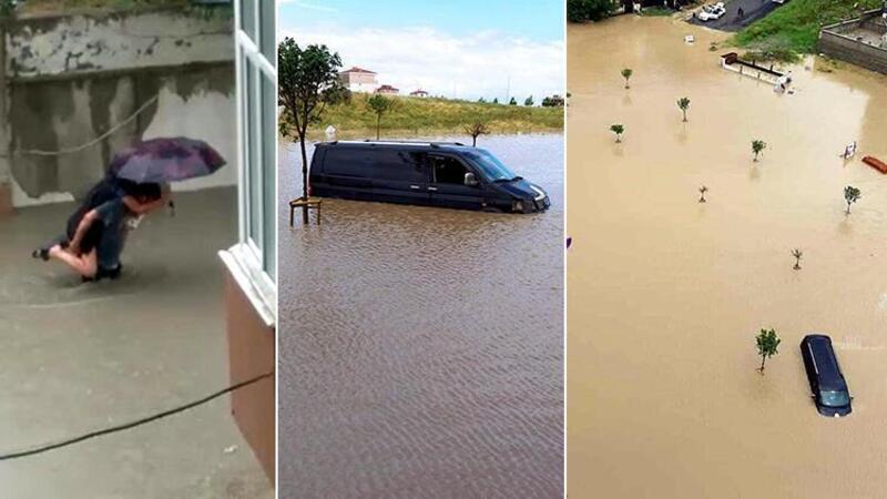 Çorlu'da sağanak yağış hayatı olumsuz etkiledi