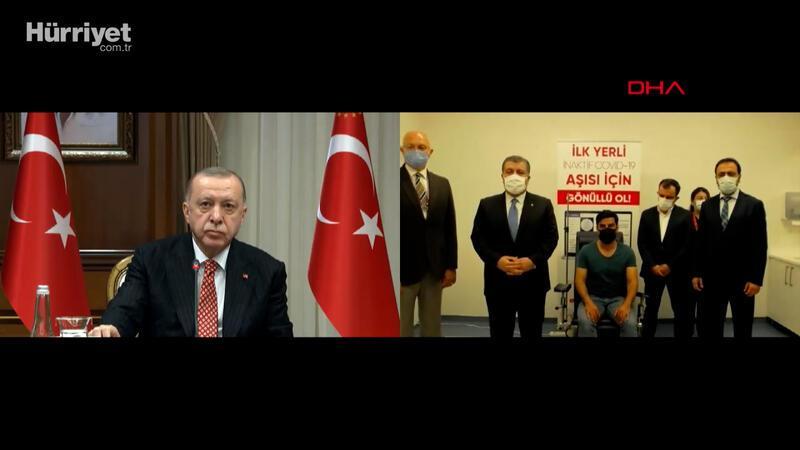 Cumhurbaşkanı Erdoğan yerli aşının 3. fazının ilk doz uygulamasına katıldı