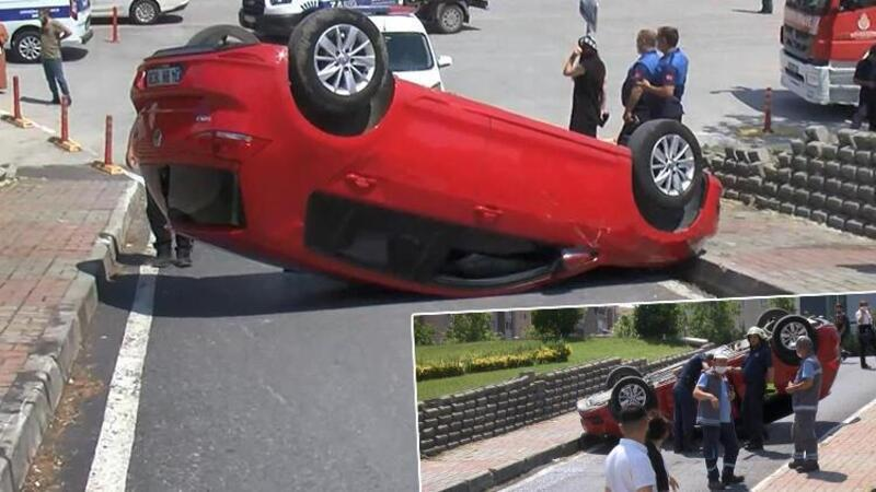 Direksiyon dersi aldığı otomobille takla attı, yaralandı