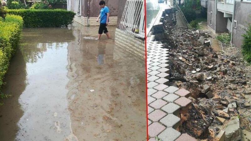 Ankara'da sağanak nedeniyle istinat duvarı çöktü, bazı evleri su bastı