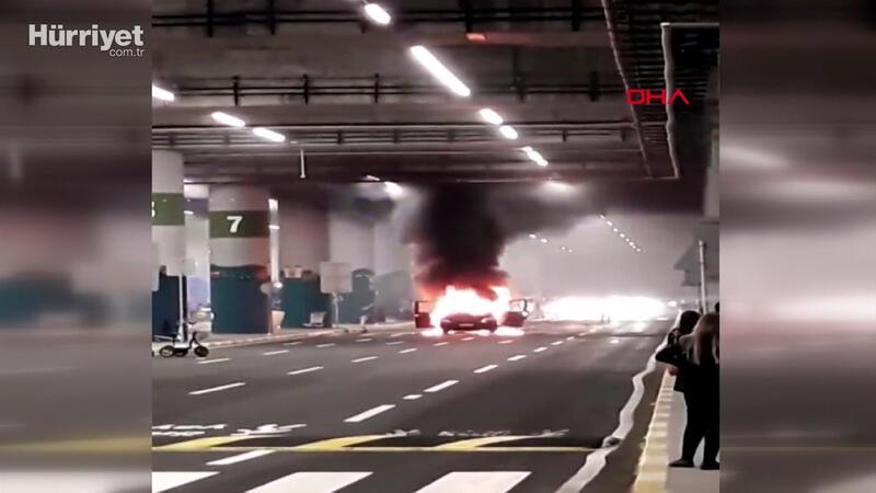 İstanbul Havalimanı'nda turist karşılamaya gelen araç alev alev yandı
