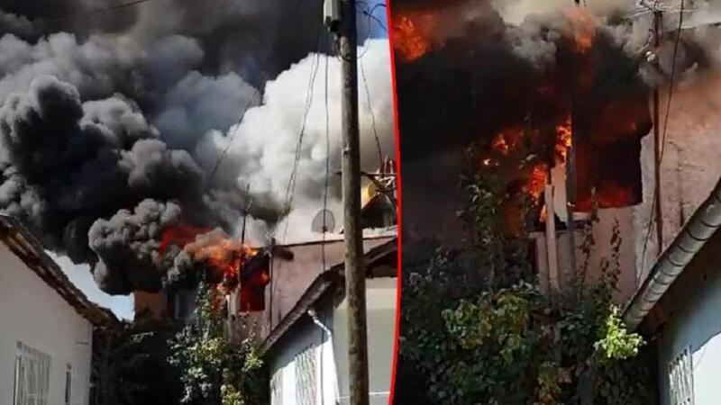Denizli'de iki katlı evde yangın!