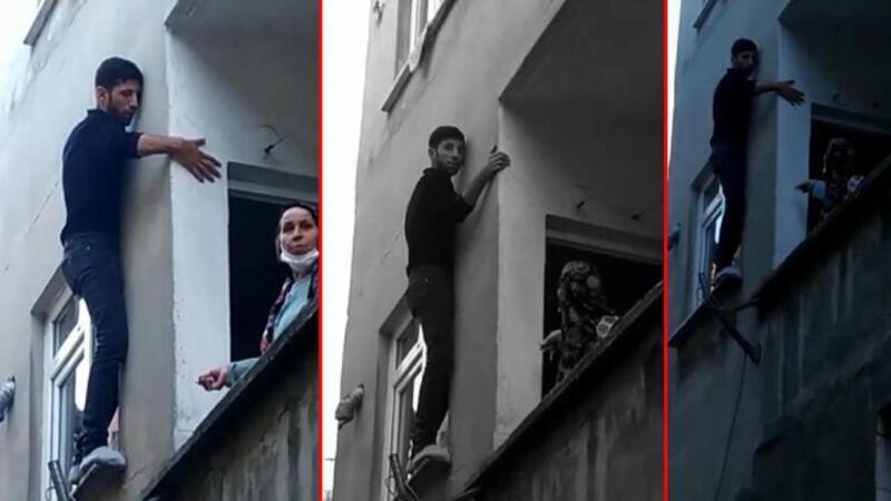 Pencerede mahsur kalan hırsız, bina sakinlerine yalvardı!