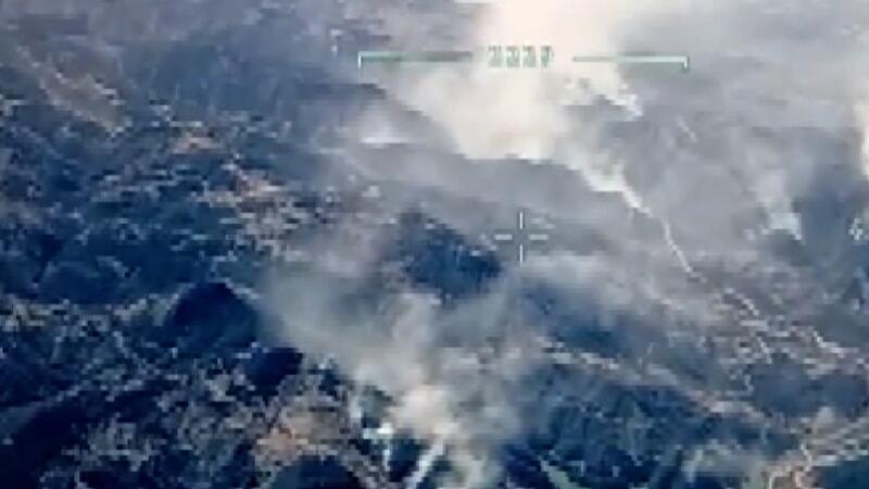 Kozan'da ikinci gününde devam eden  orman yangını İHA görüntüledi