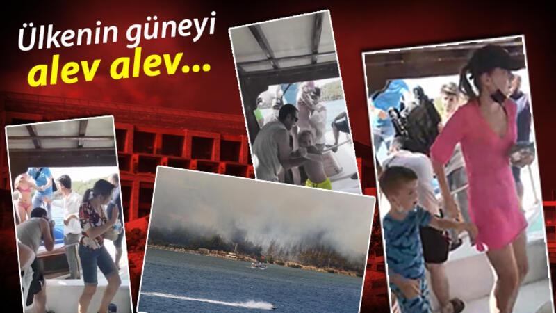 Muğla Milas'a bağlı Meşelik Mahallesi'nde ormanlık alanda çıkan yangın otellere sıçradı