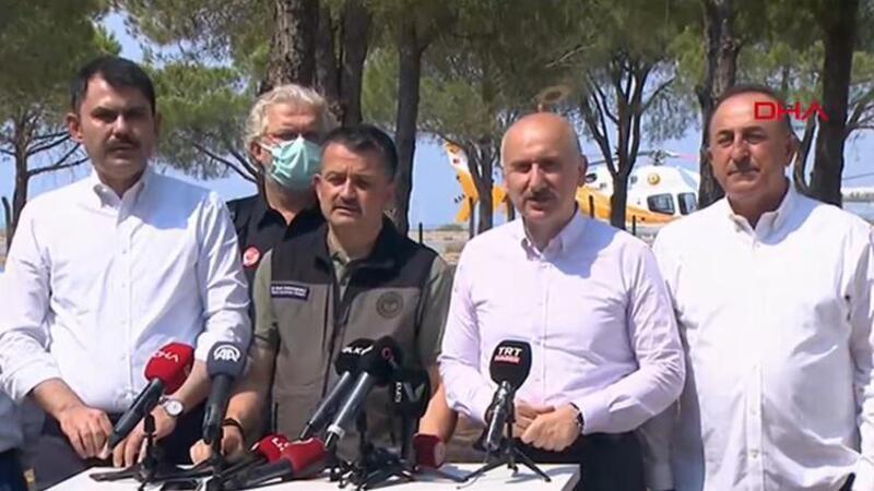 Bakanlar, yangınla mücadelede son bilgileri paylaştı
