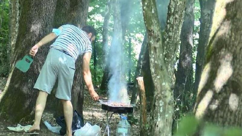Yasak olmasına rağmen Belgrad Ormanı'nda mangal yaktılar