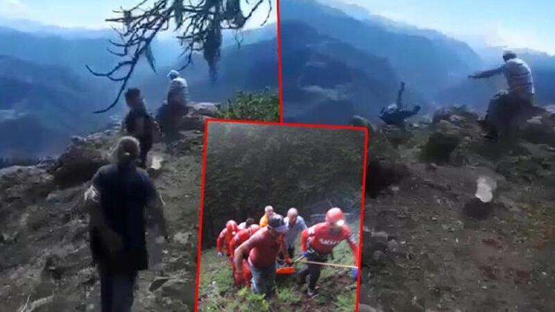 Kayınvalidesinin 70 metrelik uçuruma düştüğü an kamerada