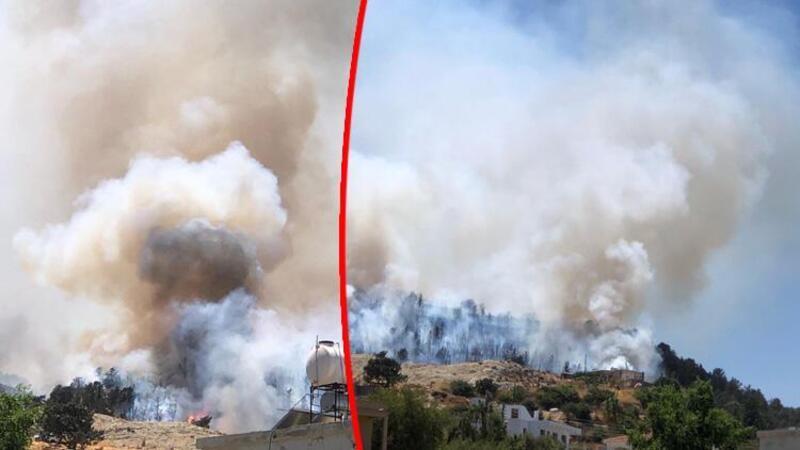 KKTC'de Girne bölgesindeki ormanlık alanda yangın çıktı