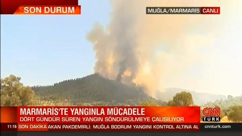 Marmaris'teki yangını söndürme çalışması devam ediyor