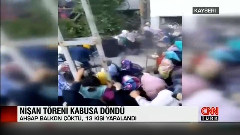Kayseri'de nişan töreni sırasında balkon çöktü! O anlar kamerada