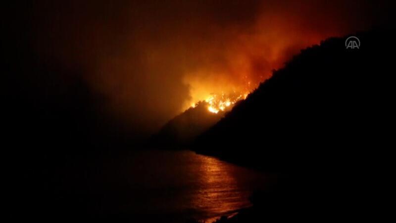 Bodrum'daki orman yangınını söndürme çalışmaları sürüyor