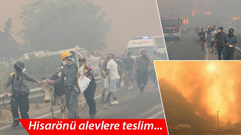 Alevlerin sardığı Hisarönü'nde vatandaşlar böyle tahliye edildi