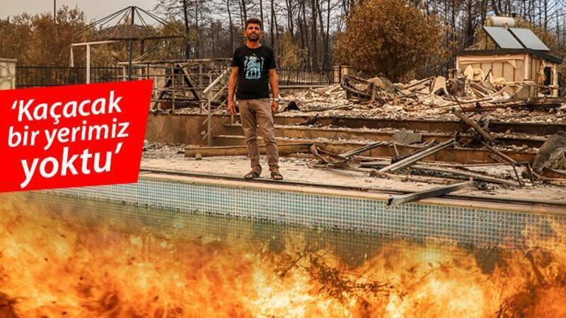 6 kişilik aile havuza girerek yangından kurtuldu