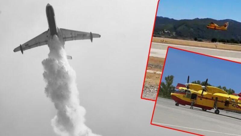 İspanya'nın gönderdiği 2 yangın söndürme uçağı Muğla'da Dalaman'a ulaştı
