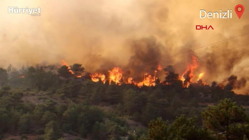 Denizli'de rüzgarın etkisiyle büyüyen orman yangınına müdahale ediliyor
