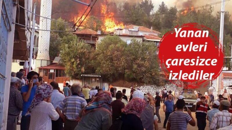 Kavaklıdere yangınında, Mehteşe Mahallesi'ndeki evler zarar gördü
