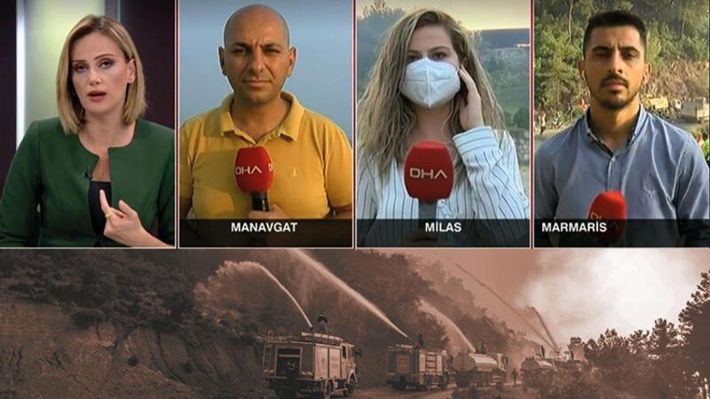 Manavgat, Milas ve Marmaris'te yangınlarda son durumu canlı yayında açıkladılar
