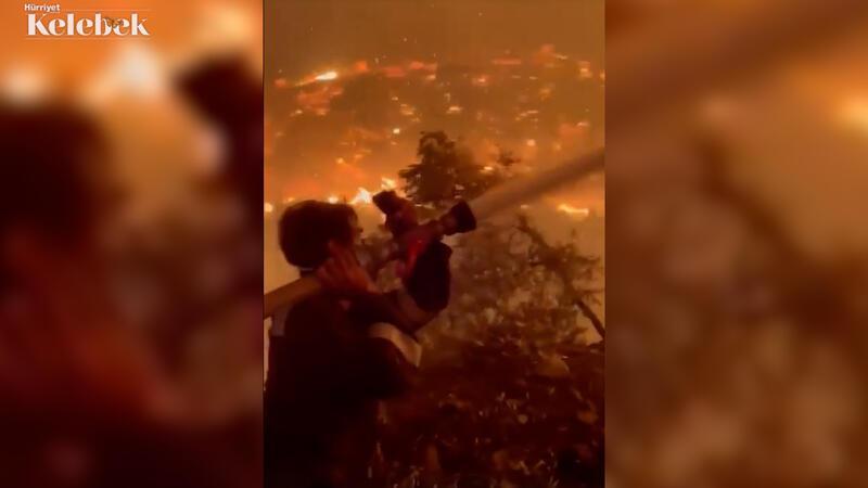 Yangınla mücadeleye oyuncu İbrahim Çelikkol da katıldı