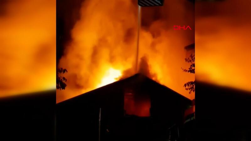 Beykoz'da tek katlı iş yerinde yangın