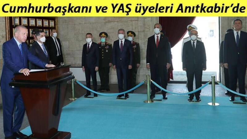 Cumhurbaşkanı Recep Tayyip Erdoğan ve Yüksek Askeri Şura Üyeleri Anıtkabir'i ziyaret etti