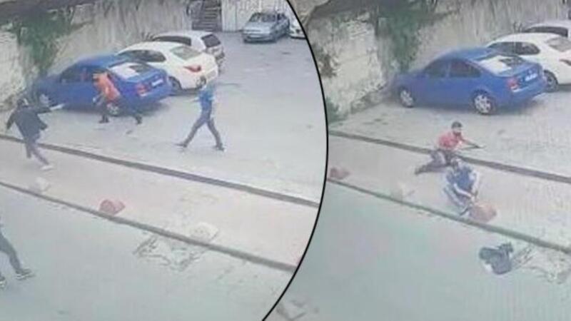 Beyoğlu'nda 1 kişinin öldüğü 2 kişinin yaralandığı silahlı kavga kamerada