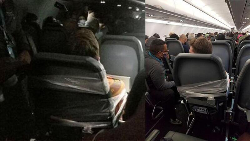 ABD'de saldırgan yolcuyu koltuğuna bantla yapıştırdılar