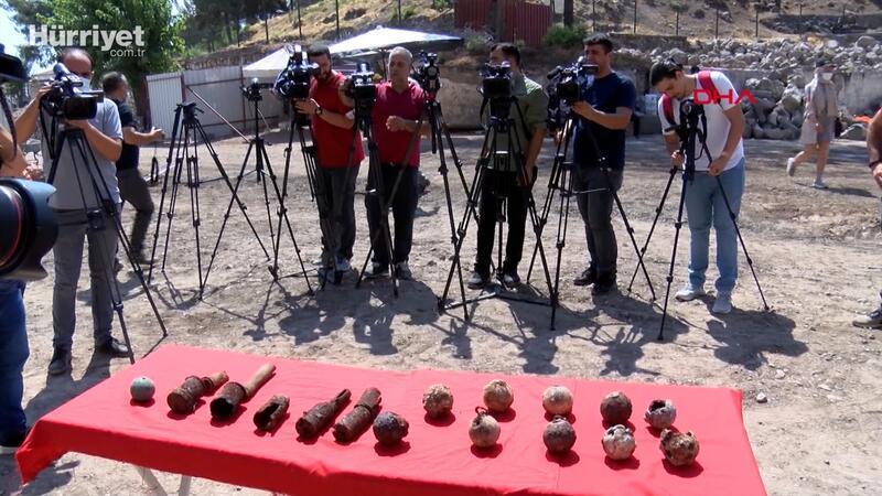 Amida Höyük'teki kazılarda bulunan el bombaları sergilendi