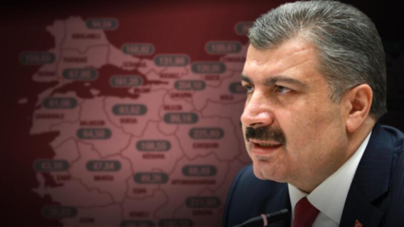 Sağlık Bakanı Koca illere göre haftalık koronavirüs vaka haritasını paylaştı