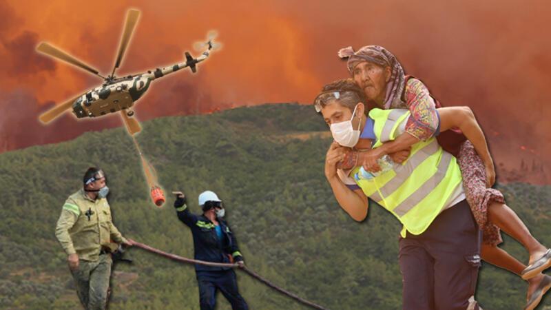 Milas'ta yangının tehdit ettiği 2 mahalledeki vatandaşlar tahliye edildi