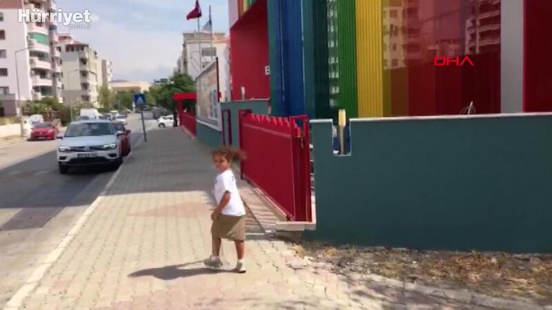 İlkokul heyecanı yaşayan Öykü Arin, açık havada derse katılıyor