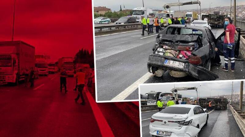 TEM'de 7 aracın karıştığı zincirleme kaza! 3 kişi yaralandı