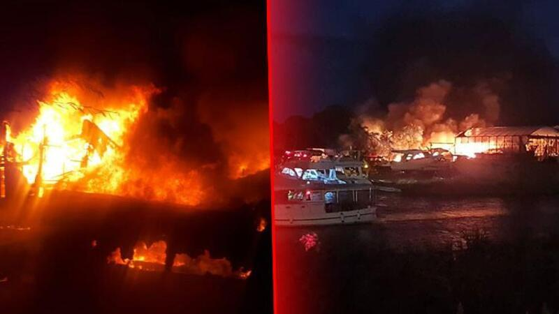Antalya'da gemi yapım atölyesinde çıkan yangında 5 tekne zarar gördü