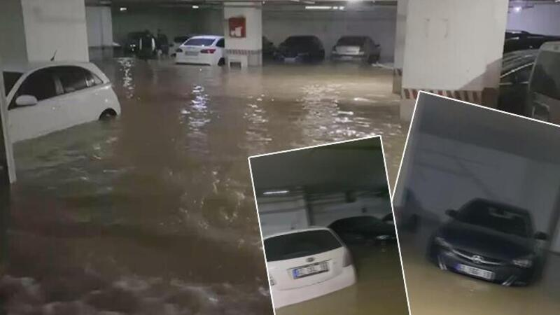 Şebeke hattı patladı, otoparktaki araçlar sular içinde kaldı