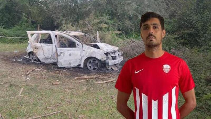 Samsun'un Salıpazarı ilçesinde amatör futbolcu, yanan aracında ölü bulundu