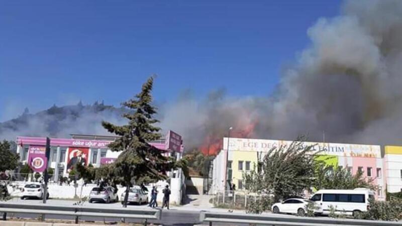 Aydın'da makilik alanda yangın! 2 okul tedbiren boşaltıldı