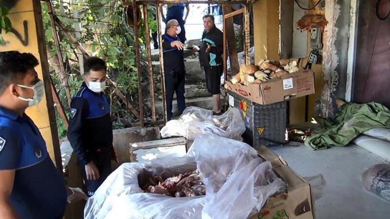 Avcılar'da halı yıkama yerinde sağlıksız koşulda bekletilen etlere el konuldu