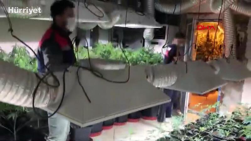 Jandarmanın yüksek teknolojili uyuşturucu serasına baskını kamerada