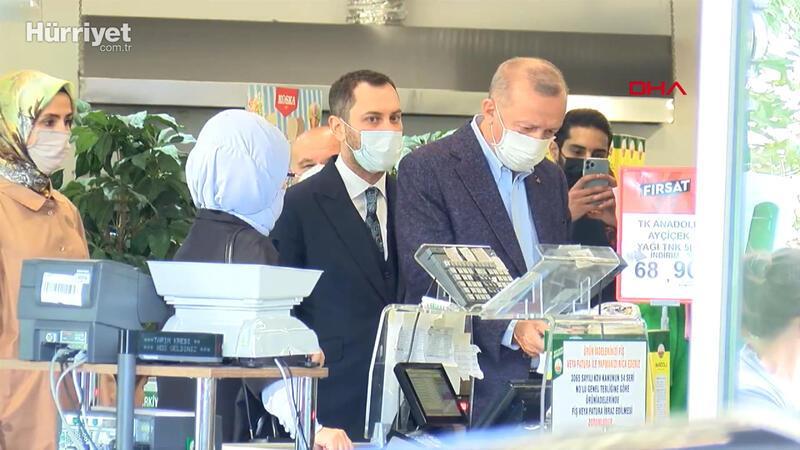 Cumhurbaşkanı Erdoğan, market alışverişi sonrası konuştu