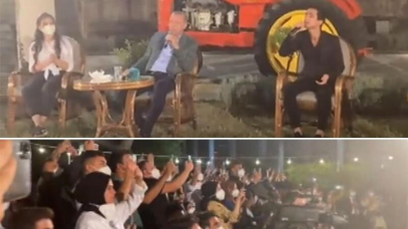 Cumhurbaşkanı Erdoğan, gençlerle 'Uzun ince bir yoldayım' türküsünü söyledi
