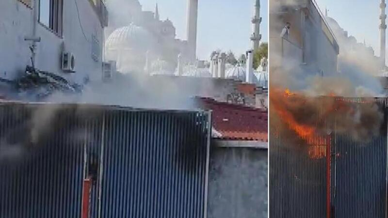 Fatih'te iş yerinde yangın paniği